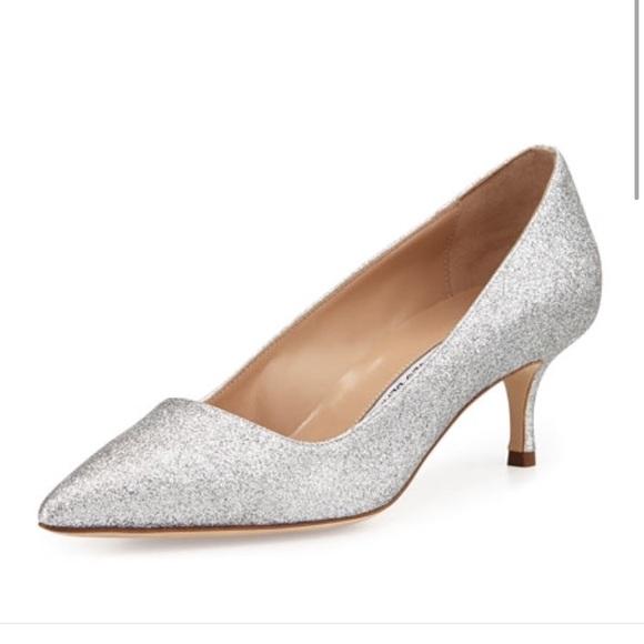 manolo blahnik shoes silver bb glitter 50mm pump poshmark rh poshmark com